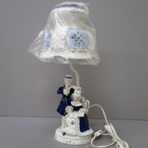 ★TK製陶所 陶器人形 レースドール スタンドライト 電気スタンド 高さ約43cm★